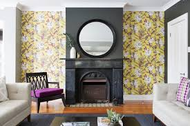 highlight your fireplace with wallpaper