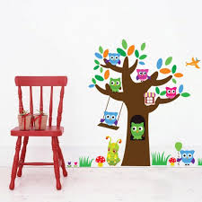 Owls Tree Wall Sticker Decal Lovely Sugar Baby Wall Art Mural Decor Kids Room Wall Border Decoration Wallpaper Graphic Wall Applique Poster Removable Wall Decals Nursery Removable Wall Decals Quotes From Magicforwall