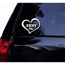 Amazon Com Tshirt Rocket Army Wife Love Decal Sticker Military Wife Heart Soldier Vinyl Car Decal Laptop Decal Car Window Wall Sticker 4 White Automotive