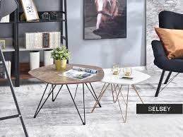 coffee table set brown marble and white