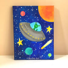 Flying Saucer Painting For Childrens Room Space Themed Art Etsy