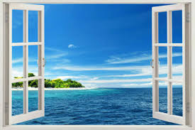 Removable Wall Sunshine Beach 3d Window View Art Sticker Vinyl Decal Mural Decor For Sale Online Ebay