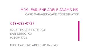 1184171357 NPI Number | EARLENE ADELE ADAMS MS | SAN DIEGO, CA ...