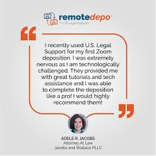 """U.S. Legal Support على تويتر: """"Thank you for the kind words regarding  RemoteDepo™, Adele Jacobs. If you need help facilitating a remote  deposition, we're here to help you through the entire process."""