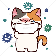 風邪でマスクをするミケ猫 イラスト素材 [ 6267598 ] - フォトライブラリー photolibrary