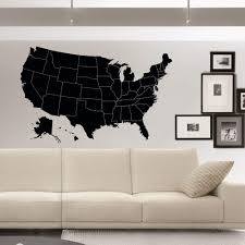 Amazon Com Us Map Wall Decals Geographic Vinyl Stickers United States Map Wall Decal Home Decor For Living Room American Map Vinyl Wall Decal C050 Kitchen Dining