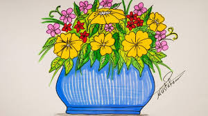 مزهرية ورد رسم ورود رسم وابداع اثارة مثيرة