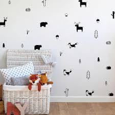 Cute Nordic Forest Animal Wall Decals Nursery Wall Decor Bear Fox Rein Nordicwallart Com