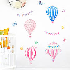 Colorful Hot Air Balloon Wall Stickers Home Decor For Living Room Decoration Accessories Pvc Diy Mural Art Kids Room Wall Decals Wish