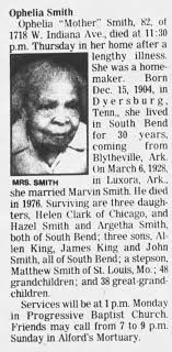 Obituary for Ophelia Mother Smith (Aged 82) - Newspapers.com