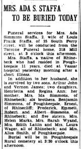 Ada Simmons Staffa obituary The Poughkeepsie Eagle-News Saturday, July 2,  1938 - Newspapers.com