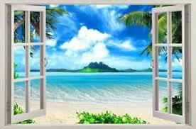 Exotic Beach View 3d Window Decal Wall Sticker Home Decor Art Wallpaper Mural Ebay