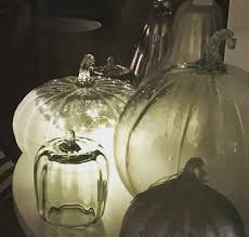frosted glass pumpkin set small large