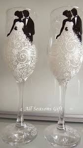 wedding champagne glasses hand painted
