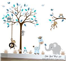 Baby Wall Decals Nursery Tree Wall Decal Grey Blue Tan Owl Etsy