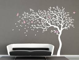 White Tree Wall Decal Nursery Wall Decal Baby Girl Wall Decals Kids Room Wall Decor Nature Tree Kids Room Wall Decor Baby Girl Room Decor Kids Room Wall Decals