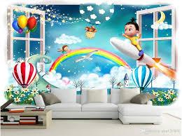 3d Wallpaper On A Wall Custom Photo Mural Cartoon Balloon Rainbow Kids Room Home Decoration 3d Wall Murals Wallpaper For Walls 3 D Wallpaper Hd For Desktop Widescreen Wallpaper Hd Hd From