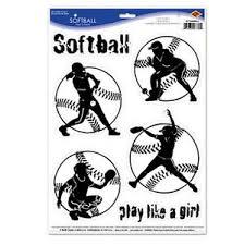 Softball Wall Stickers 6 Decals Teen Sports Room Decor Play Like A Girl Ebay