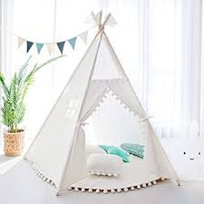 Amazon Com Treebud Kids Teepee Tent Five Poles Indian Play Tents Toddlers Boys Girls Playhouse Pompom Lace Cotton Canvas Tipi With Carry Bag For Indoor Outdoor Play White Toys Games