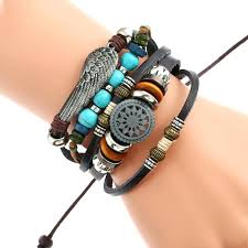 turquoise leather bracelet brown wedge