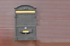 Vintage Mailbox On Metal Fence Outdoors Stock Photo Image Of Message Postbox 150072602