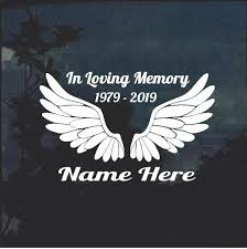 Angel Wings A2 In Loving Memory Window Decal Sticker Custom Sticker Shop