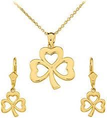 14k gold three leaf heart clover irish