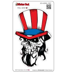 Uncle Sam Skull 1207 Full Color 5 Inch Printed Vinyl Decal Window Stic Stickerdad Shirtmama