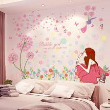 Shijuekongjian Bubbles Girl Wall Stickers Diy Purple Dandelion Flowers Mural Decals For Kids Rooms Baby Bedroom Decoration Decor Stickers Decor Stickers For Walls From Huuus 11 83 Dhgate Com