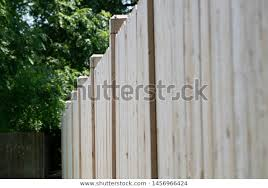 New White Cedar Fencing Fence Panels Stock Photo Edit Now 1456966424