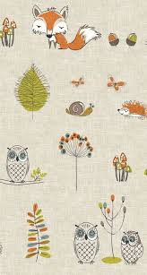 Woodland Fox And Owl Natural Cotton Nursery Curtains For Childrens Room Toddler Bedroom Woodland Woodland Critters Nursery Nursery Curtains