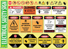Set Of Electrical Safety Sign Stock Illustration Download Image Now Istock