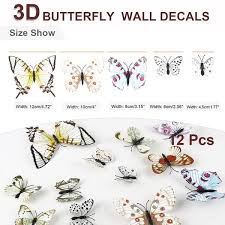 Shop 12pcs 3d Butterfly Wall Decal Stickers For Room Decoration Pink Green Blue Overstock 29786891