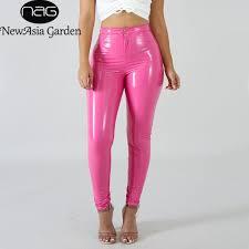 2020 newasia pink pu leather pants