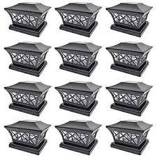 Vg3cssc Iglow 12 Pack Black 6 X 6 Solar Post Light Smd Led Deck Cap Square Fence Outdoor Garden Landscape Pvc Vinyl Wood
