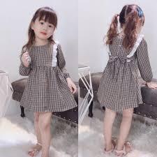 Mua [Kho buôn] Váy kẻ viền nơ hàng thu đông cho bé gái cực duyến ...