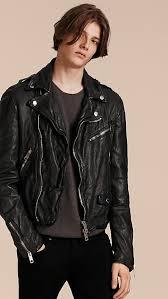 black washed lambskin biker jacket