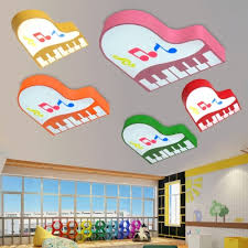 Cartoon Piano Ceiling Lamp Boys Girls Room Acrylic Led Flush Light Fixture In Warm White Third Gear Beautifulhalo Com