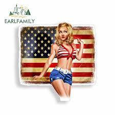 Earlfamily 13cm X 11 9cm Sexy Pinup Girl Car Sticker Rustic American Usa Flag Patriot Car Window Bumper Decal Funny Car Styling Car Stickers Aliexpress