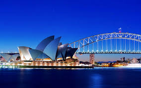 sydney opera house and bridge wallpaper