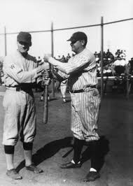 Walter Johnson and Babe Ruth during a charity baseball game, Anaheim  [graphic] — Calisphere