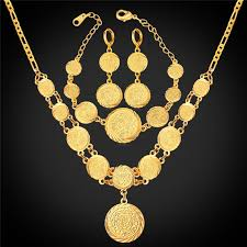 kpop arabic gold color jewelry coin set