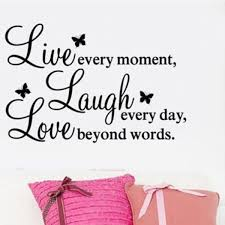 1pc Wall Quote Vinyl Decal Live Every Moment Laugh Every Day Love Beyond Words Wish