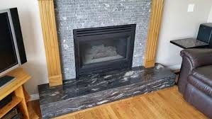 recycled granite tile fireplace