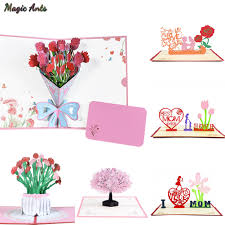 3D Pop Up Cards Mothers Day Gifts Card I Love Mom Carnation ...