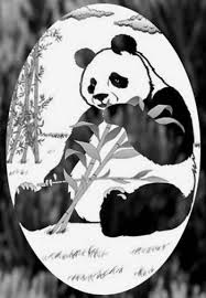 4 X 6 Oval Panda Bear Etched Glass Decal Static Cling Window Film World