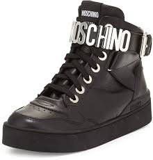 lettering leather high top sneaker