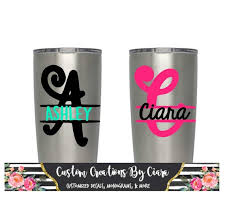 Monogram Decal Name Yeti Cup Decal Split Letter Decal To Etsy