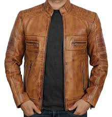 perforated tan leather biker jacket