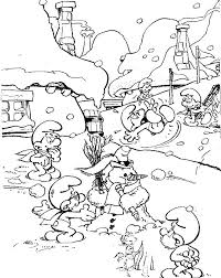 Kids N Fun Kleurplaat Smurfen Winter Smurfen